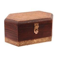 Purpledip Vintage Handmade Wooden Jewelery Box With Brass Sheet Cover; Wedding Anniversary Gift (10759)