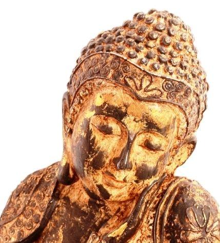 "Purpledip Polyresin Unusual Pose ""Pensive Mood"" Big Buddha Statue (11100)"