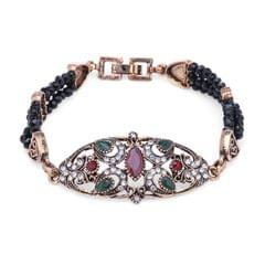Purpledip Vintage Bracelet 'Regal Crown': Adjustable Design Set In Stones & Metal; Party-wear Jewelry For Girls (30118)