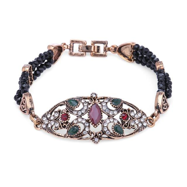 Purpledip Vintage Bracelet 'Regal Crown': Adjustable Design Set In Stones & Metal; Party-wear Jewelry For Girls (30118)