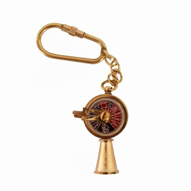 Purpledip Brass Key Chain/Ring/Hook 'Telegraph' (Chadburn/E.O.T.); Memorabilia Souvenir Gift For Sailors (11127)