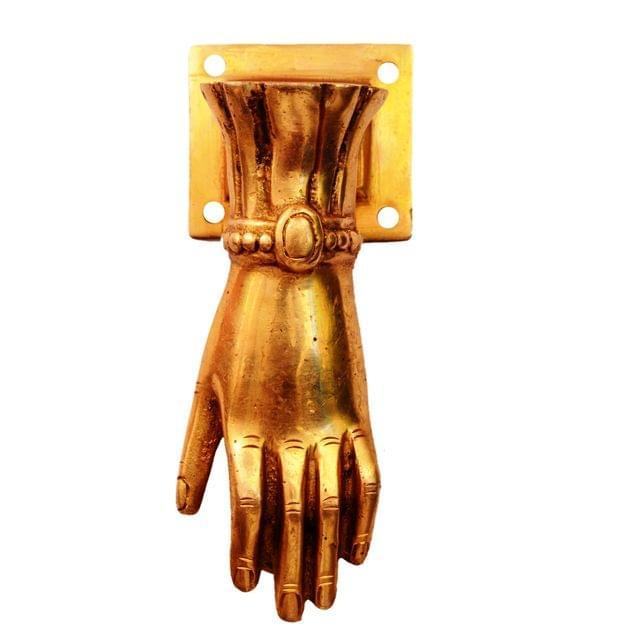 Purpledip Brass Door Knocker Handle: 'Hand Of God' (11137)