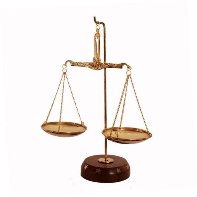 Purpledip Brass Weighing Scale Balance Tarazu Weights Measure Showpiece 'Law/Justicse For All' (11152)