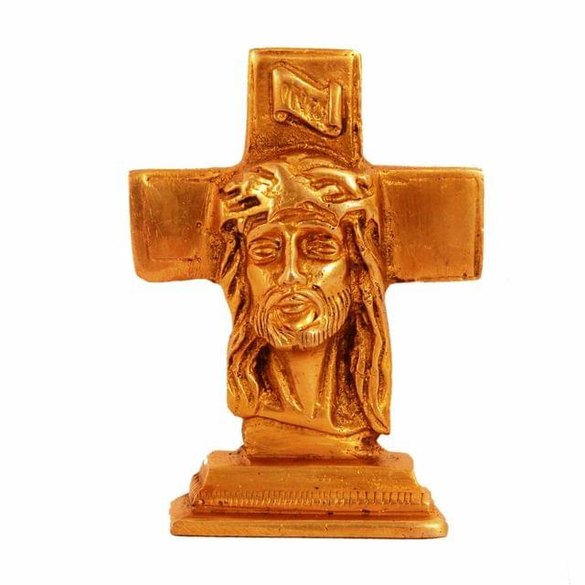 Purpledip Brass Statue Jesus Christ On Cross: Small Idol For Car Dashboard, Table, Shop Counter; Christian gifts (11153)