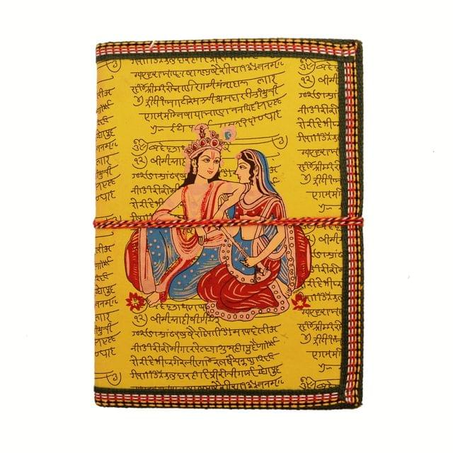 Purpledip Handmade Paper Journal Radha-Krishna: Vintage Diary Notebook With Thread Closure (11157)