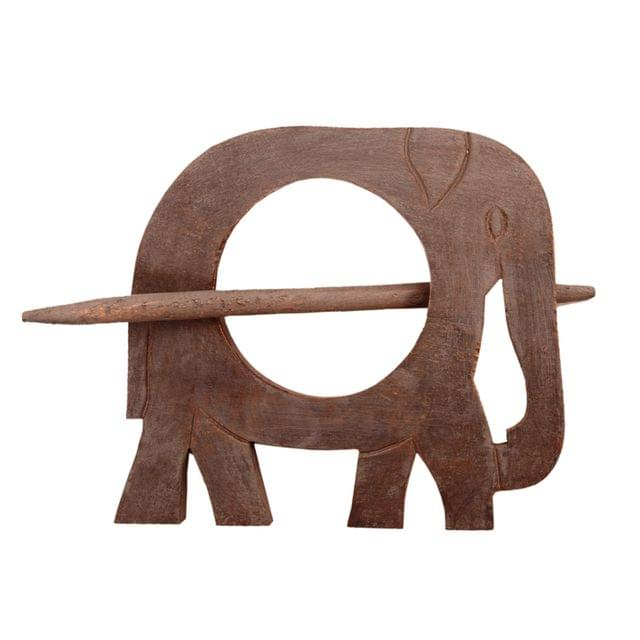 Purpledip Wooden Curtain Holder Tie Back Drape Clips 'Royal Elephant': Set Of 2 (11147)