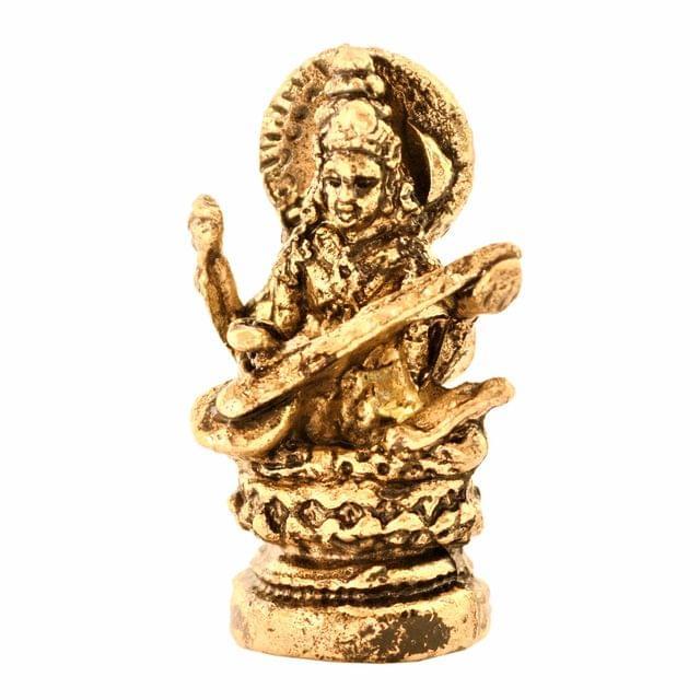 Purpledip Rare Miniature Statue Saraswati (Saraswathi), Hindu Goddess Of Knowledge, Music & Arts: Unique Collectible Gift (11167)