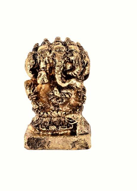 Purpledip Rare Miniature Statue Lord Ganesha In Panchmukhi Avatar: Unique Collectible Gift (11170)