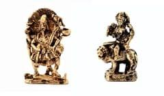 Purpledip Rare Miniature Statue Set Hindu Goddesses (Kali & Durga): Unique Collectible Gift (11180)