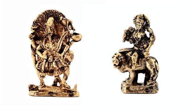 Purpledip Rare Miniature Statue Set Hindu Goddesses (Kali & Durga): Unique Collectible Gift (11180)