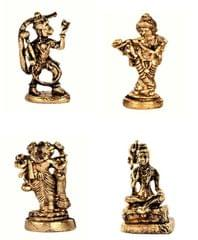 Purpledip Rare Miniature Statue Set Hindu Gods (Krishna, Hanuman, Shiva, & Brahma): Unique Collectible Gift (11181)
