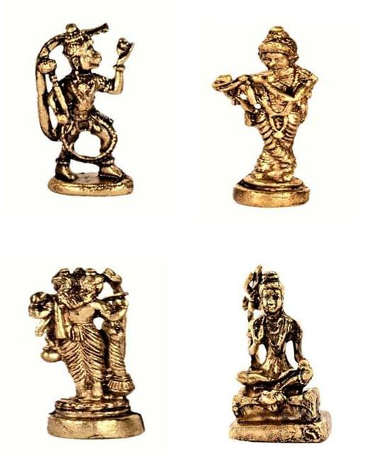 Purpledip Rare Miniature Statue Set Hindu Gods (Krishna, Hanuman, Shiva, & Brahma): Unique Collectible Gift (11181)