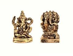 Purpledip Rare Miniature Statue Set (Siddhi Vinayaka Ganesha & Panchmukhi Ganesh): Unique Collectible Gift (11182)