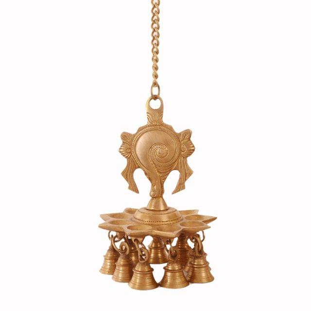 Purpledip Brass Hanging Diya Nila Vilakku Oil Lamp With Bells: Gada Padma Padmanabha Swami Vishnu Symbol Shankh (11183)