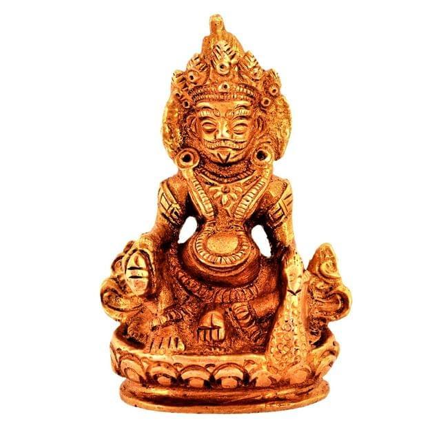 Purpledip Brass Statue Kubera (Hindu God Of Wealth & Prosperity): Kuber Vaisravana Sarvanubhuti Idol In Pure Metal; Regious Indian Home Temple Decor (11185)
