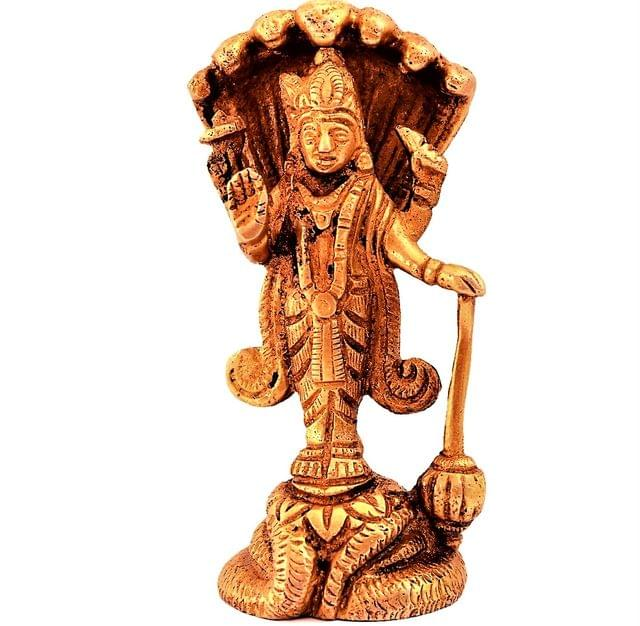 Purpledip Brass Statue Lord Vishnu: Hindu God Idol Sculpture Home Temple Decor Gift (11189)