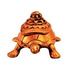 Purpledip Brass Tortoise/Turtle Kumkum Box: Mount Meru On Top & Magic Numbers Lo Shu Square Nine Halls Diagram Underneath; Feng Shui Vaastu Good Luck Charm Gift (11190)