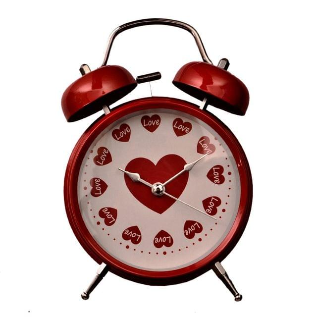 Purpledip Alarm Clock 'Loving Hearts' With Ringing Bell: Portable Size For Home (11208)