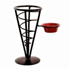 Prupledip Iron Serving Basket Snacks Tray With Dips Chutney Bowl: For Chips, Fries, Snacks 'Magic Cone' (11212)