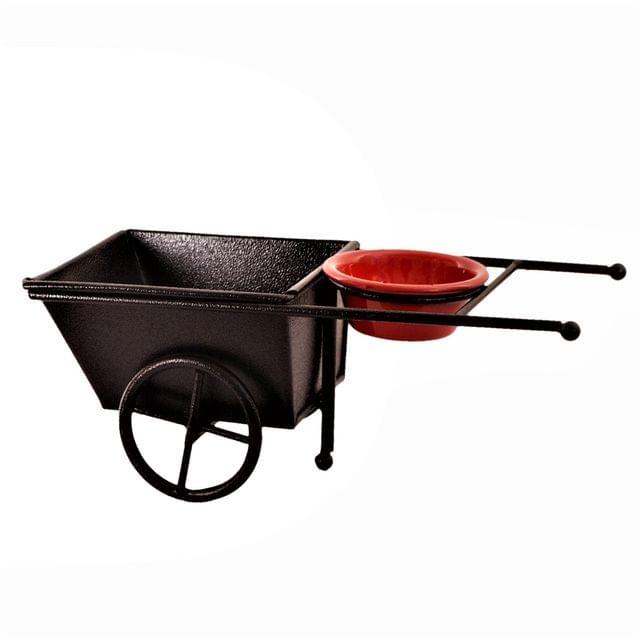 Purpledip Iron Serving Platter Snacks Tray For Chips, Fries, Salads Or Knick-knacks 'Wheel-barrow' (11215)