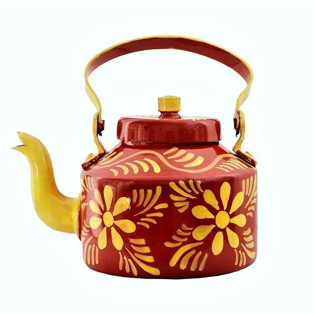 Purpledip Aluminium Handpainted Kettle Teapot: Holds 6 cups, 1 litre, Indian Souvenir Gift (11218a)