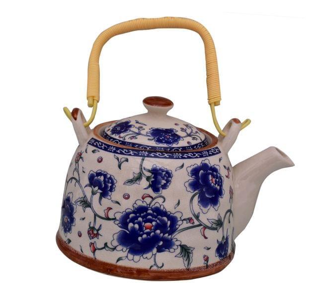 Purpledip Beautifully Painted Ceramic Kettle Tea Coffee Pot 500 ml With Steel Strainer (11220)
