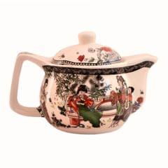 Purpledip Painted Ceramic Kettle Tea Coffee Pot 350ml (Small) With Steel Strainer (11221)
