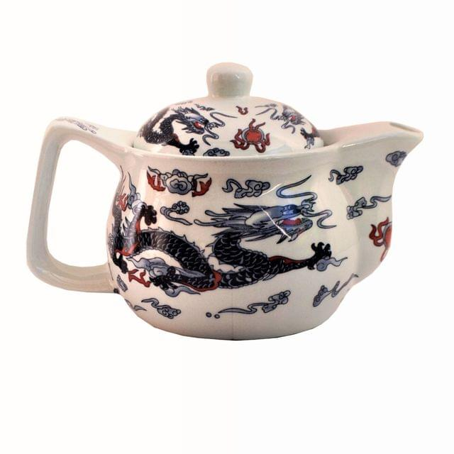 Purpledip Painted Ceramic Kettle Tea Coffee Pot 350ml (Small) With Steel Strainer (11222)