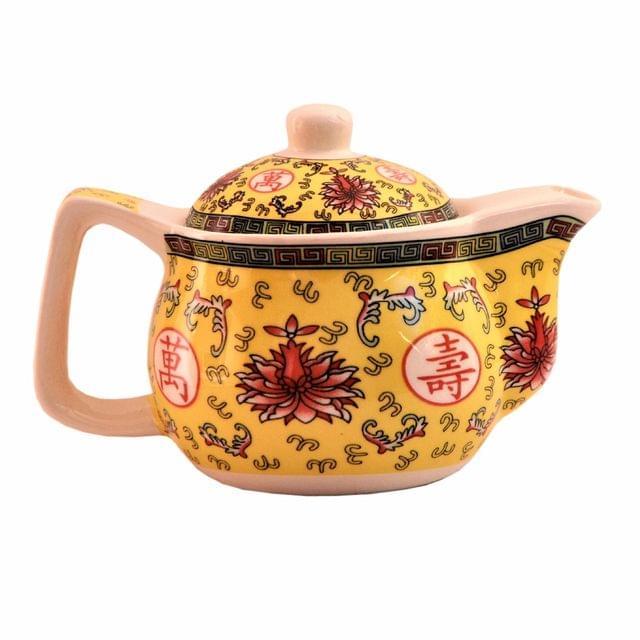 Purpledip Painted Ceramic Kettle Tea Coffee Pot 350ml (Small) With Steel Strainer (11224)