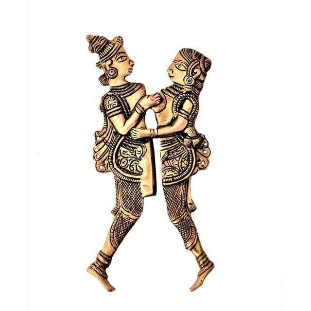 Purpledip Rare Collection Brass Nut Cracker Sarota 'Khajurao': Eternal Love Story Of Radha-Krishna (11231)
