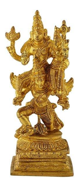 Purpledip Rare Collection Brass Idol Garuda, Vishnu Vahana Varadaraja Perumal (11233)
