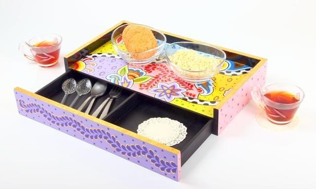 Purpledip Deco Painted Wooden Tray Desk Organizer With Drawers (11250 / wdt04)