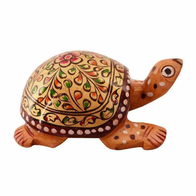 Purpledip Wooden Tortoise/Turtle With Fine Gold Painting; Miniature Idol Gift Vaastu Feng Shui Good Luck Charm (11253)