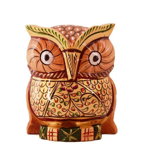 Purpledip Wooden Owl With Fine Gold Painting; Miniature Idol Gift Vaastu Feng Shui Good Luck Charm (11254)