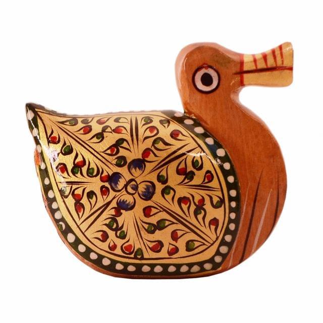 Purpledip Wooden Ducks With Beautiful Fine Gold Painting; Miniature Idol Gift Vaastu Feng Shui Good Luck Charm (11256)