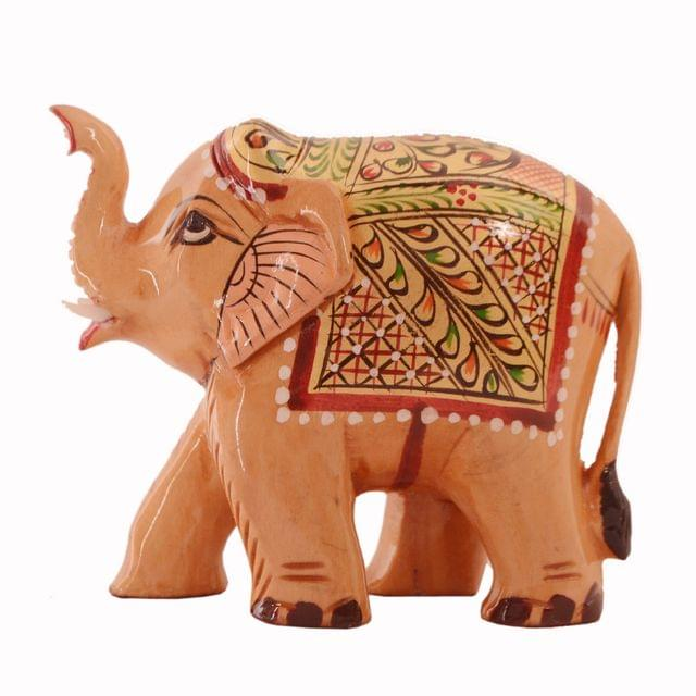 Purpledip Wooden Elephant With Beautiful Fine Gold Painting; Miniature Idol Gift (11258)