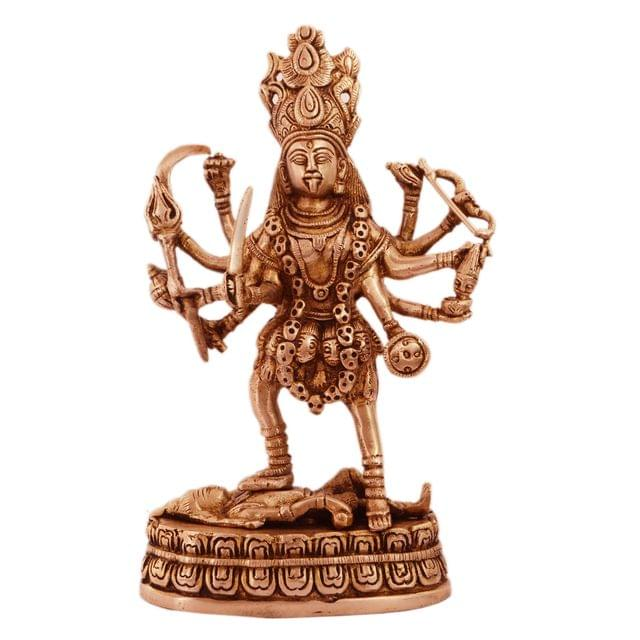 Purpledip Maa Kali Brass Statue: Hindu Religious Goddess Devi Idol, Indian Deity Handmade Sculpture (11238)