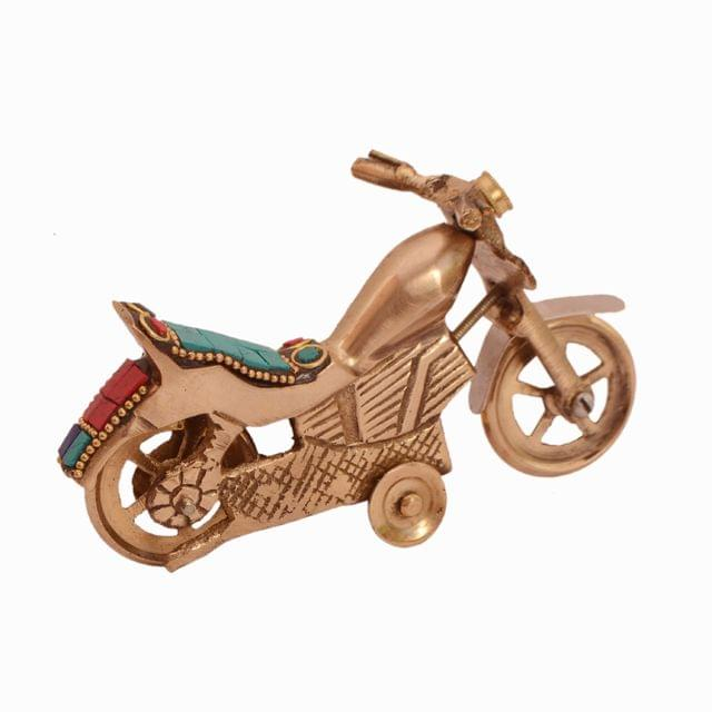 Purpledip Vintage Motorbike Miniature Replica in Pure Brass with Spectacular gemstonework: Handmade Quirky Gift Collectible (11240)