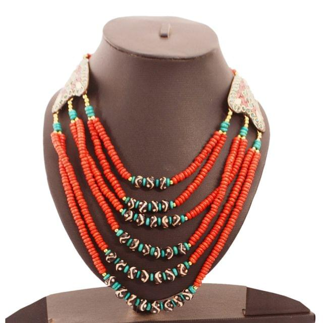 Purpledip Fashion Necklace 'Passion': Multistrand Red Rani Haar With Colorful Beads & Brass Locket (30125)