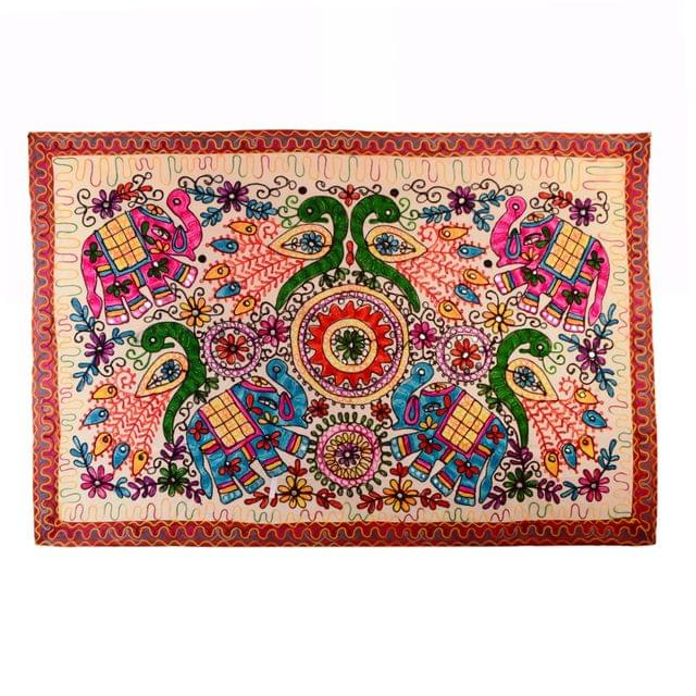 """Finely Embriodered Indian vintage Small Tapestry Table Cover Wall Hanging Cotton Wall Decor """"Jungle Jambooree"""" (11271)"""