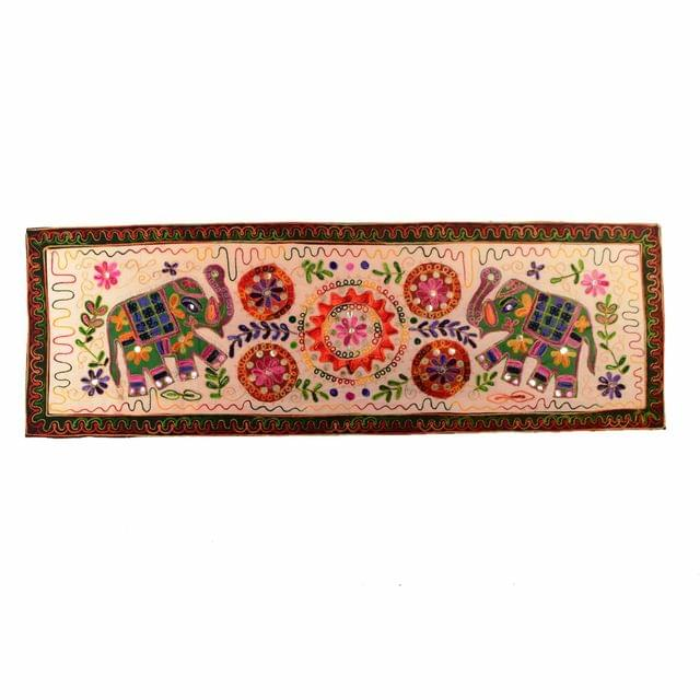 "Finely Embriodered Indian vintage Small Tapestry Table Runner Wall Hanging Cotton Wall Decor ""Trumpeting Elephants"" (11272)"