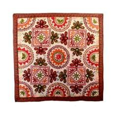 """Finely Embriodered Indian vintage Small Tapestry Table Runner Wall Hanging Cotton Wall Decor """"Floral Delight"""" (11273)"""