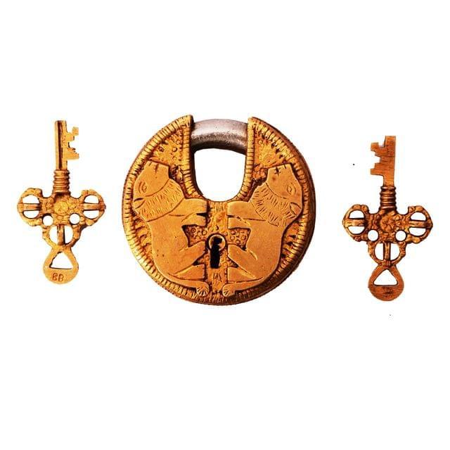 Brass Lock Padlock With Lion: Round Antique Design; Unique Collectible (11275)
