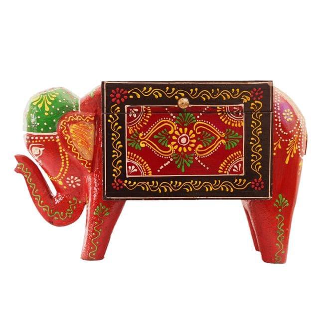 Wooden Trinket Box 'Festive Elephant': Unique Handpainted Box With Lid�(11286)