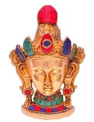 Brass Idol Buddhist Goddess Tara: Table Top Decor Figurine With Gemstones; Collectible Gift (11287)