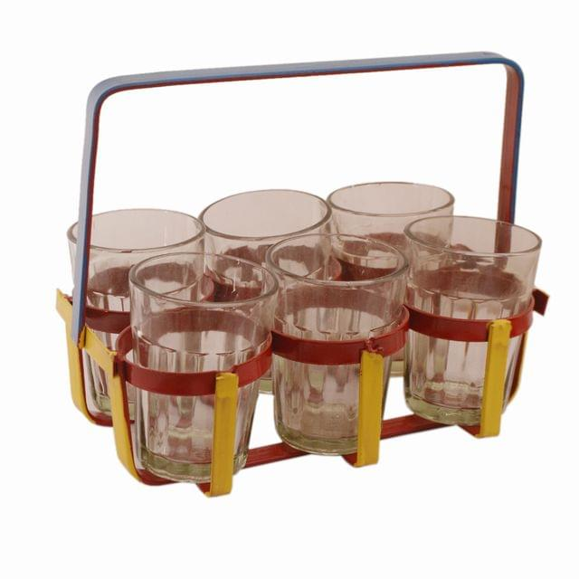 Cutting Chai Glasses Set In Colorful Stand For Tea Or Coffee (11299)