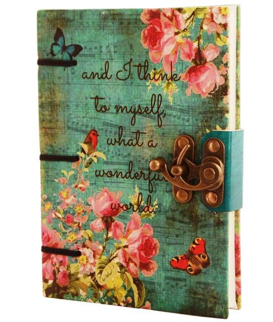 Purpledip Vintage Journal (Diary Notebook) 'What a Wonderful World': Handmade Paper Encased In Digital Print Hard Cover With Unique Lock Closure; Perfect Gift (11305)