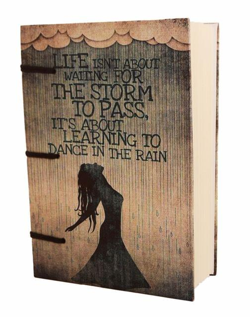 Purpledip Vintage Journal (Diary Notebook) 'Dancing In The Rain': Handmade Paper Encased In Digital Print Hard Cover; Perfect Gift (11308)