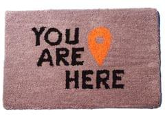Purpledip Handwoven Doormat 'You Are Here': Thick, Soft, Non-skid Floor Carpet Rug (11310a)