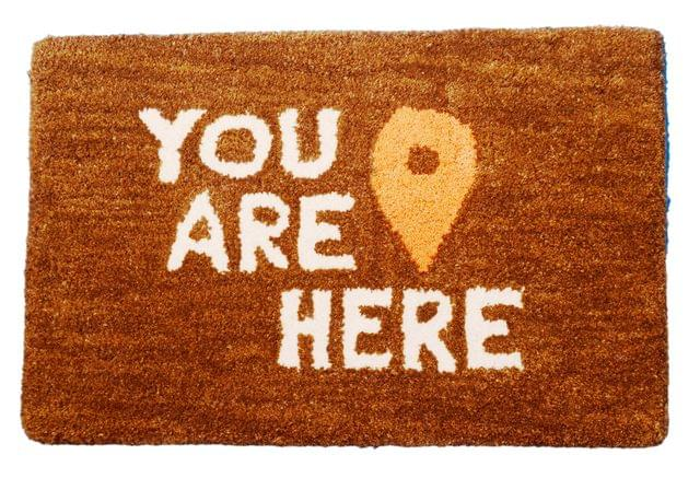Purpledip Handwoven Doormat 'You Are Here': Thick, Soft, Non-skid Floor Carpet Rug (11310b)
